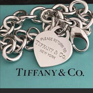 Tiffany & Co. 925 Heart Tag Charm Bracelet